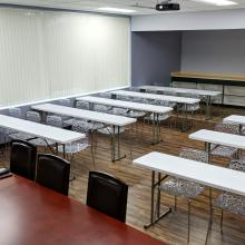 Configured with tables for training sessions